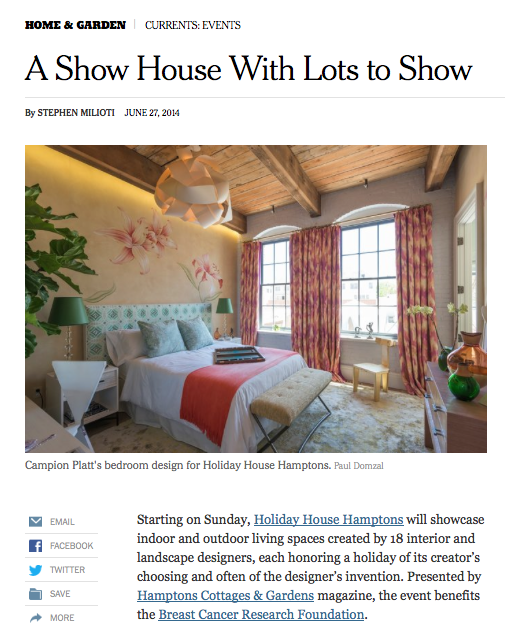 New York Times articel on Holiday House Hamptons