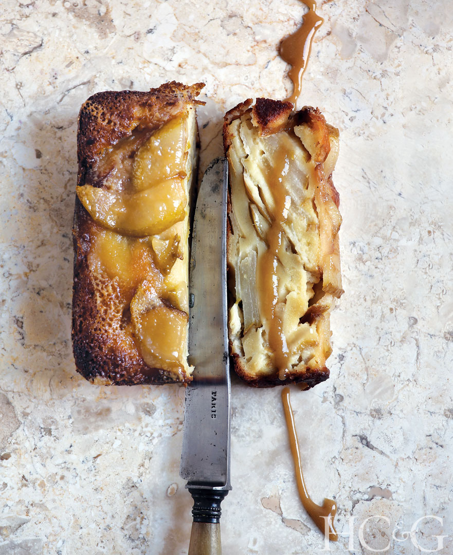 Plenty of Pears Salted Caramel Loaf Cake recipe from Hillary Davis's new book, French Desserts.