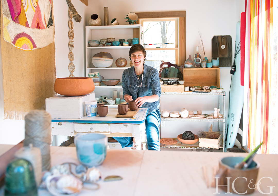 Lora Lomuscio makes ceramic bowls and vases in her 125-square-foot studio on Shelter Island.