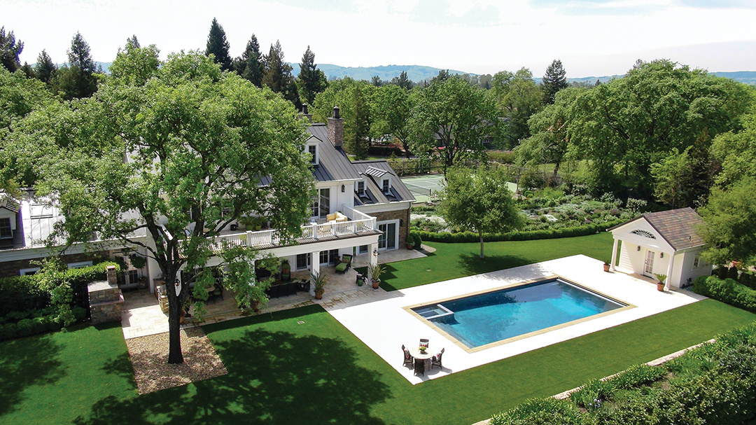 Outfitted with a pool, tennis court and chef's kitchen, this Sonoma home is the perfect entertaining property.