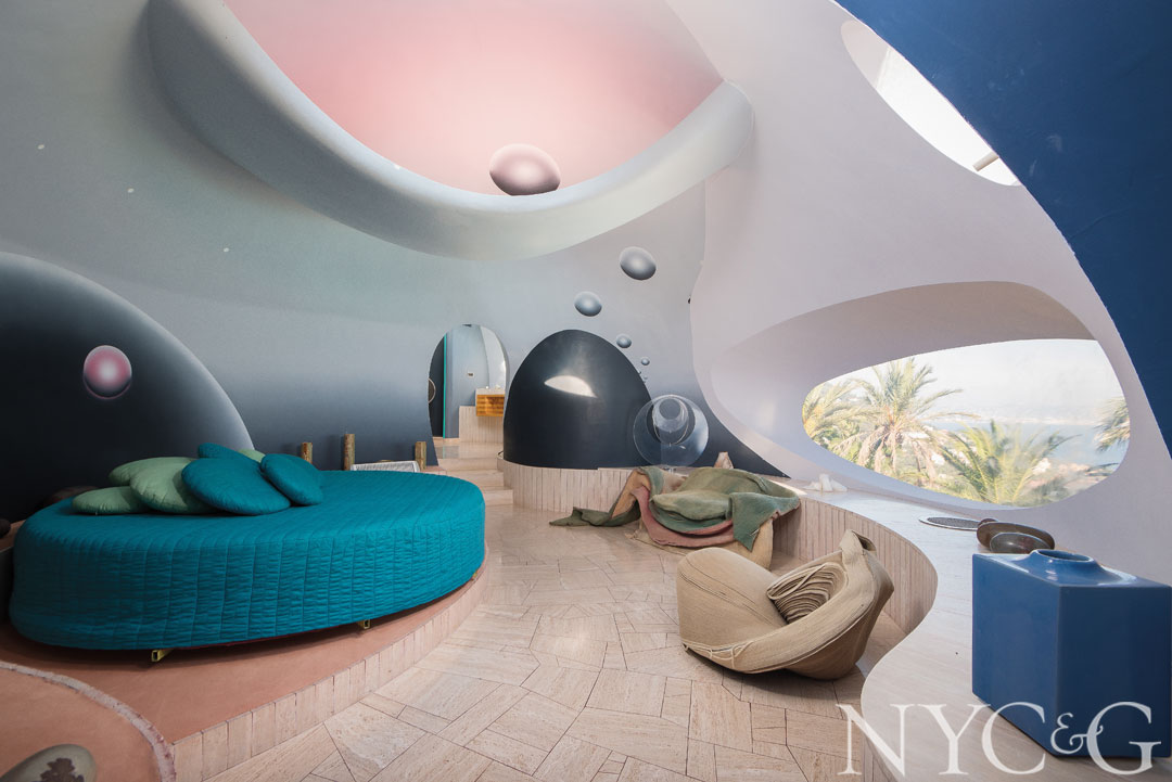Pierre Cardin's iconic Bubble Palace is made up of sphere-shaped rooms.