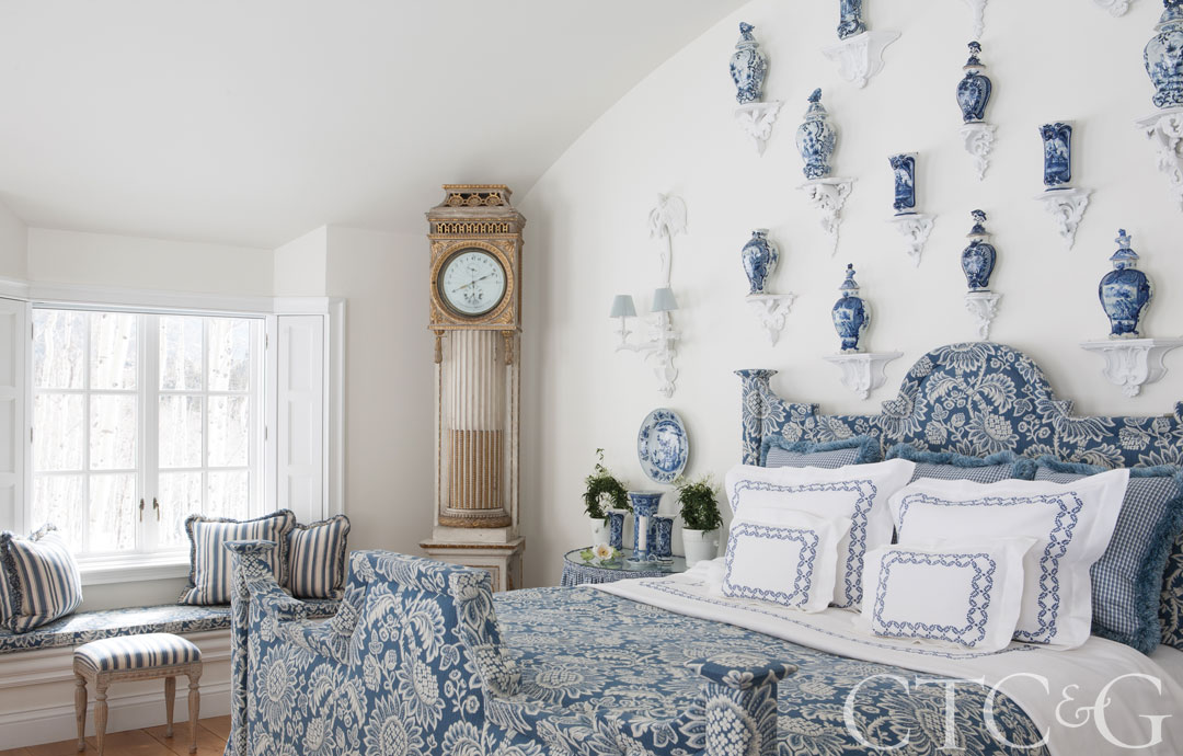 This bedroom was inspired by the dining room at Axel Vervoordt's Belgian castle.
