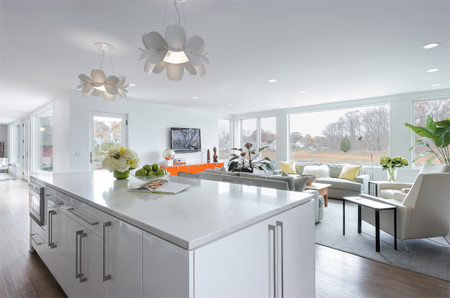 Modern Open Kitchen with DWR Barstools