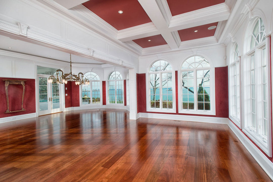 An enormous billiards room with panoramic views of Long Island Sound.