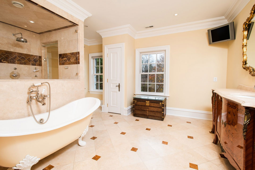 The home's gorgeous master bathroom.