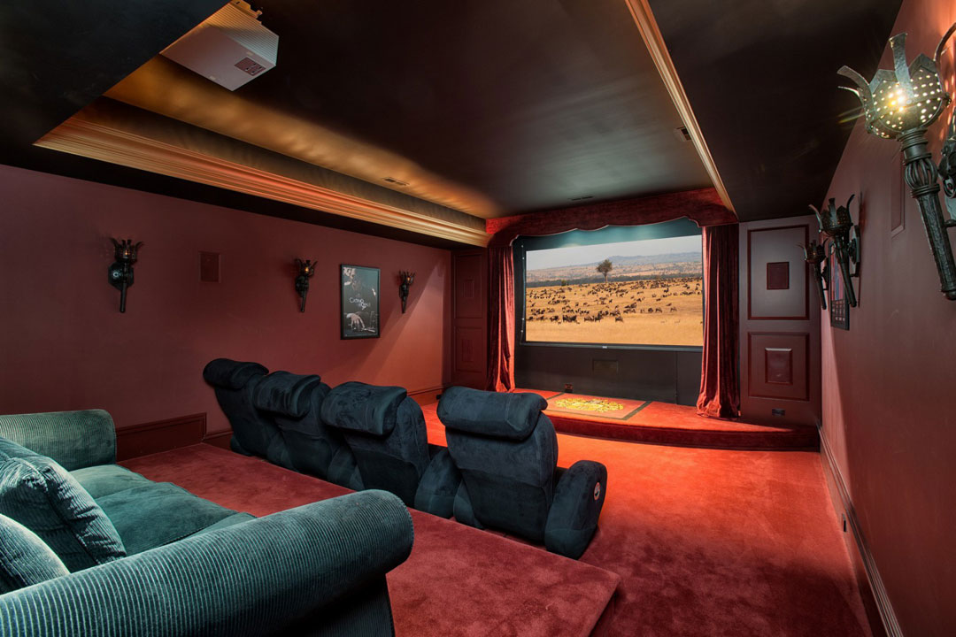 The home theater is perfect for relaxing.