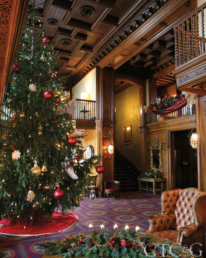 The grand Christmas tree at Ashford Castle.